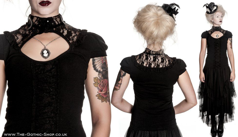 Tymore Black Lace Keyhole top
