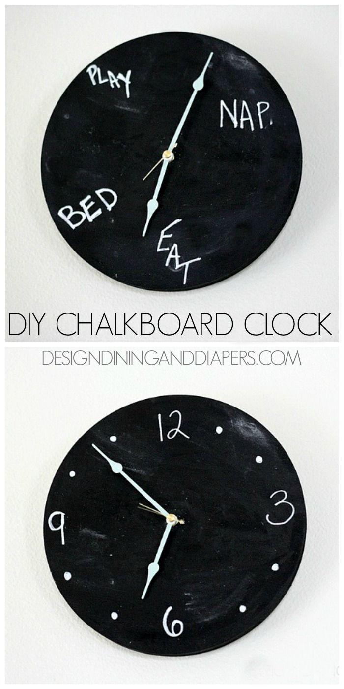 DIY Chalkboard Clock Taryn Whiteaker Fun