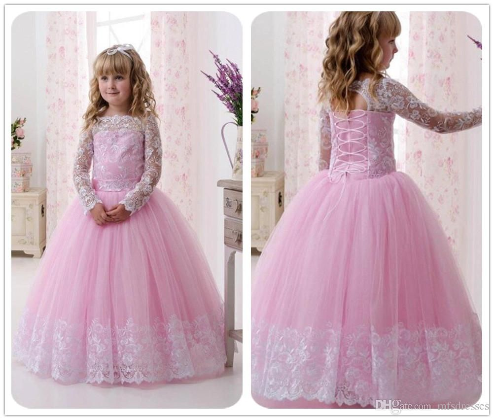 6561aeba307ab 2017 New Hot Pink Bateau Flower Girl Dresses White Lace Long Sleeves ...