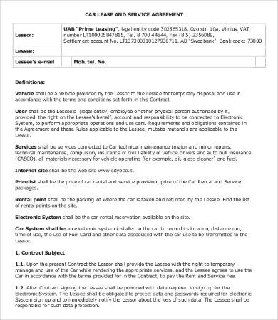Lease Agreement Templates 10 Printable Word Pdf Formats