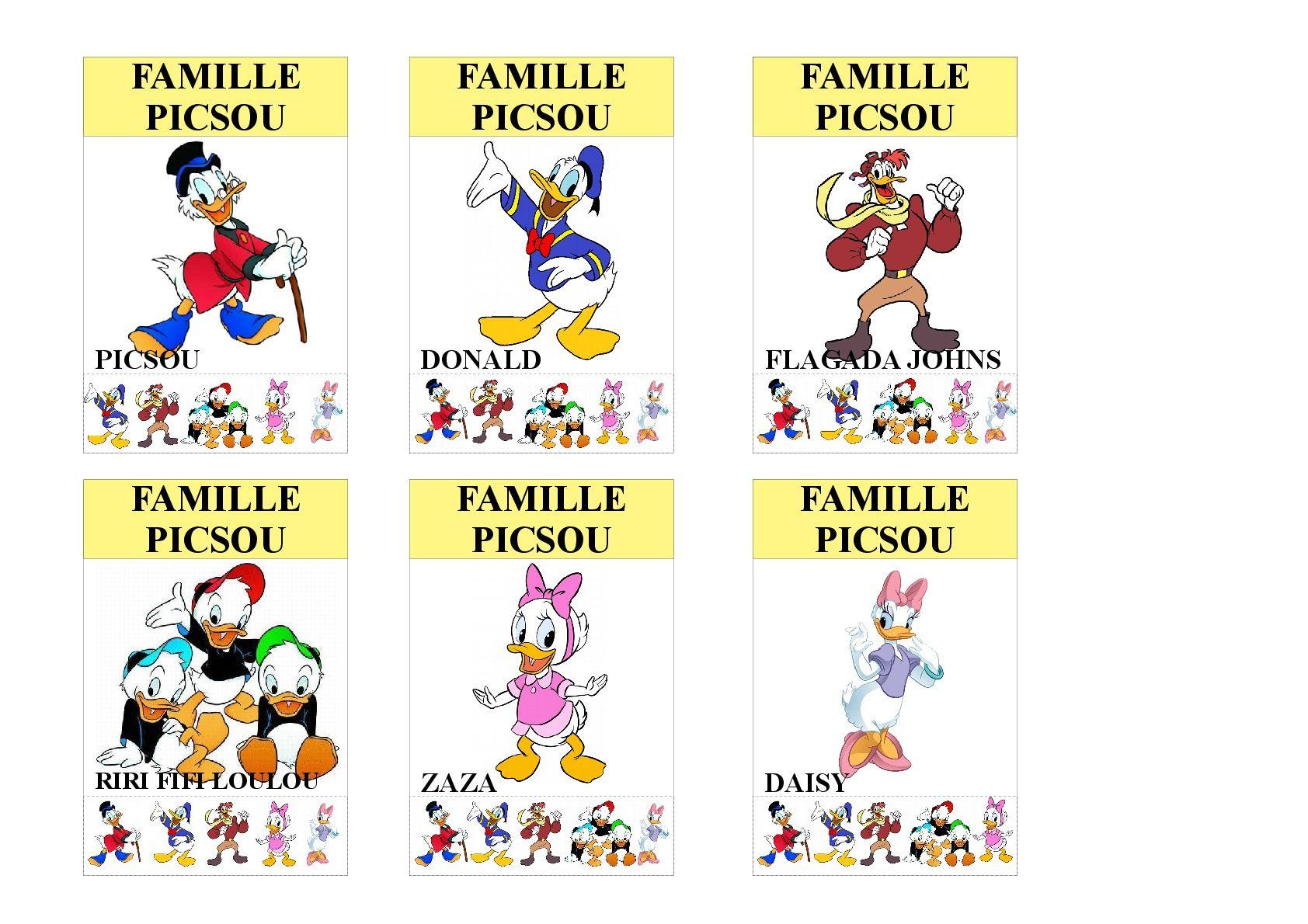 Famille Picsou Jeu Des 7 Familles Utilisable Pour Les Plus Jeunes Vu Que Tous Les Membres Des Familles Sont Indiques S Jeux Des 7 Familles Jeux En Famille Jeux