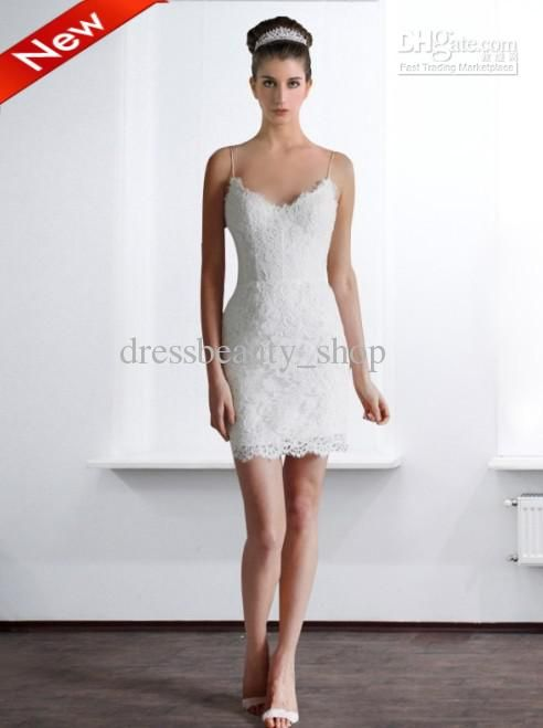 Short white lace wedding dresses