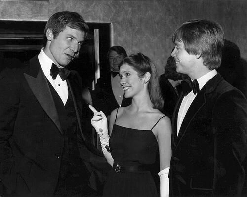 Harrison Ford, Carrie Fisher, and Mark Hamill at the 1977 Star Wars premiere.