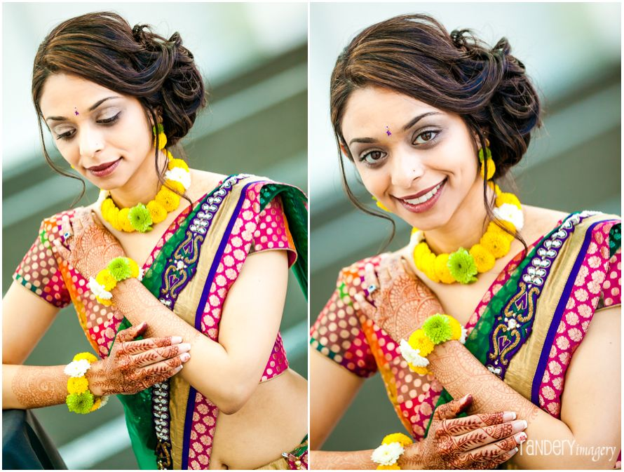 Mehndi Ceremony Hairstyles : Flower jewelry for indian bride s pithi ceremony side