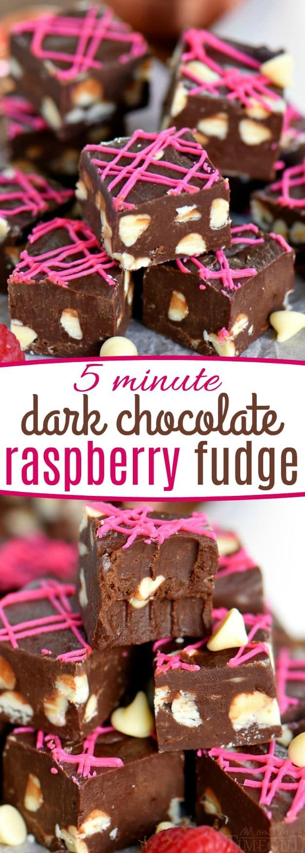 Photo of 5 Minute Dark Chocolate Raspberry Fudge Recipe