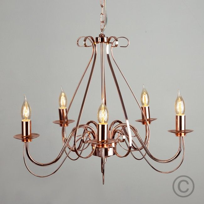 Decorative 5 Way Traditional Ceiling Chandelier In Copper