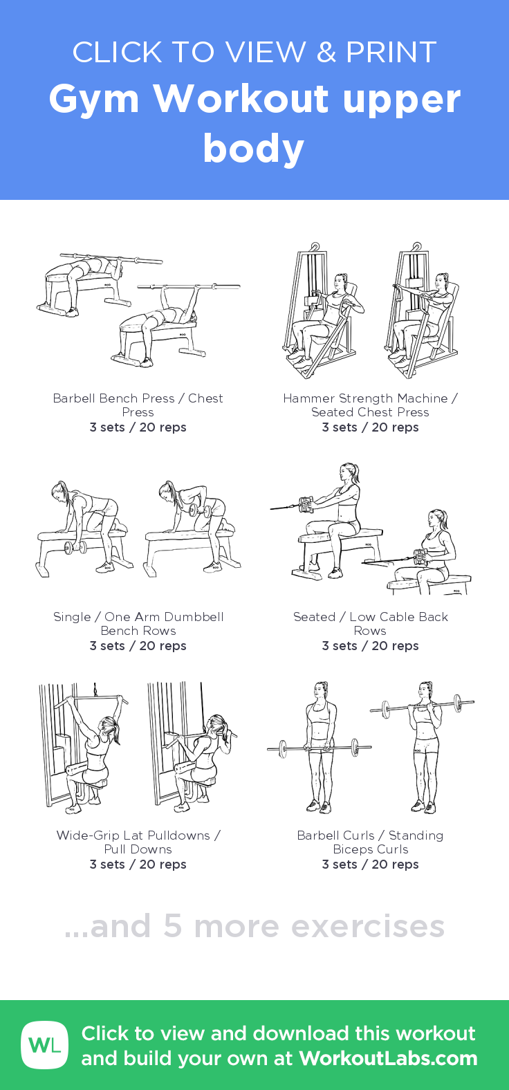 Gym Workout Upper Body Click To View And Print This Illustrated Exercise Plan Created With WorkoutLabsFit