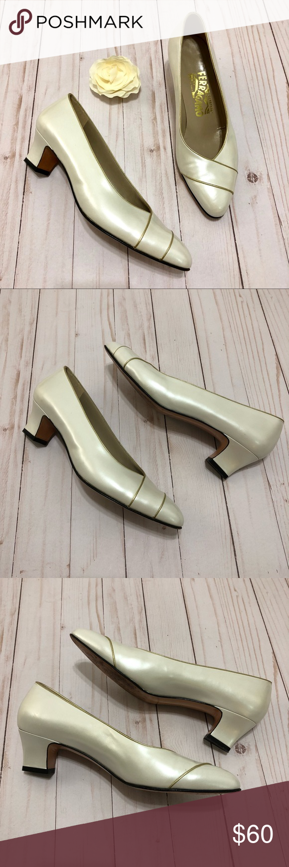 140b284e17 Salvatore Ferragamo Heels Ivory Pearl Gold Trim Salvatore Ferragamo Heels  Ivory Pearl Gold Trim Pumps Size 7. 1.75 inch heel. Great preloved  condition.