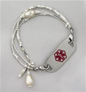 This Is A Pretty Itp Medical Alert Bracelet Dainty Silver With Pearls Medical Alert Jewelry Diabetic Jewelry Medic Alert Bracelets