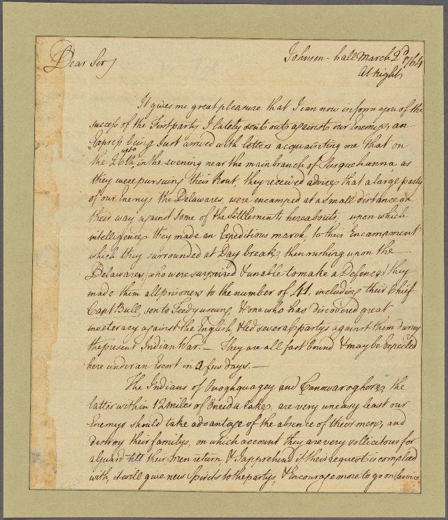 Letter To [Col. John Bradstreet.] Ref The Capture