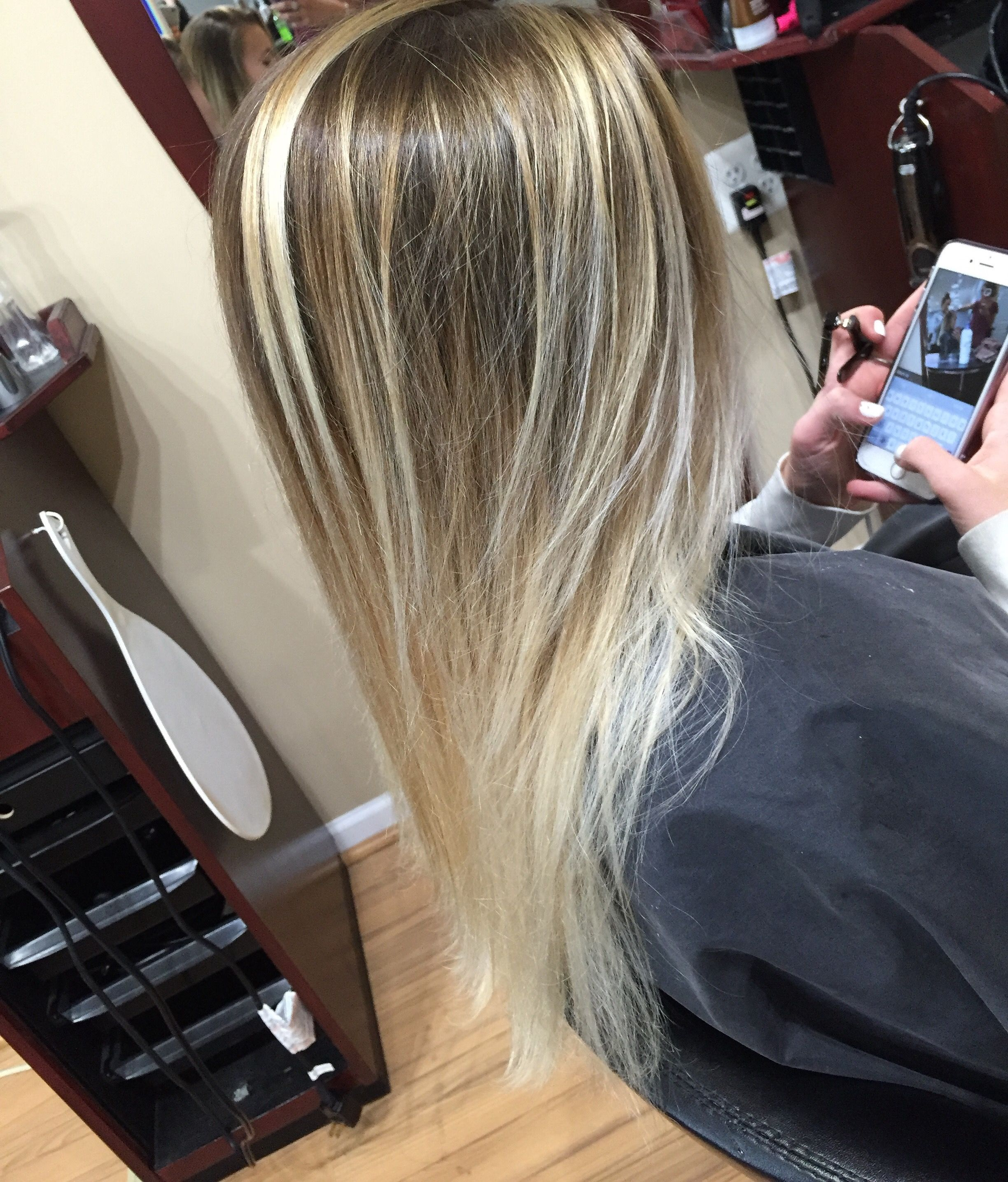 Blonde Ashy Blonde Balayage Color Melt Dark Roots Light Ends
