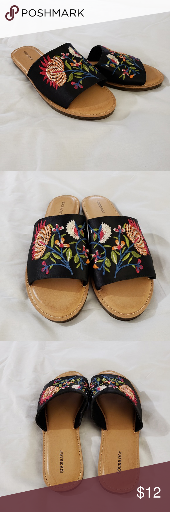 aa56db8f3483 NWOT Sociology Embroidered Flip Flops Size 10M These are a beautiful pair  of women s Sociology Embroidered