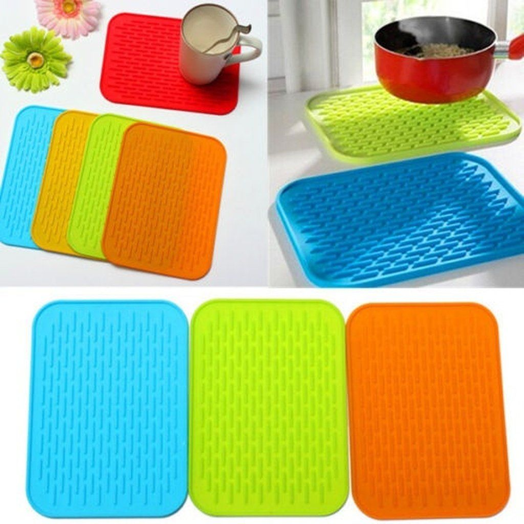 Heat Resistant Silicone Table Mat Placemat Non-slip Pan Pot Holder Mats