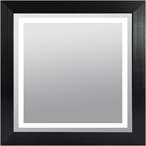 30x30 picture frame mount wood frame lighted vanity wall mirror led square black finish led30x30 led