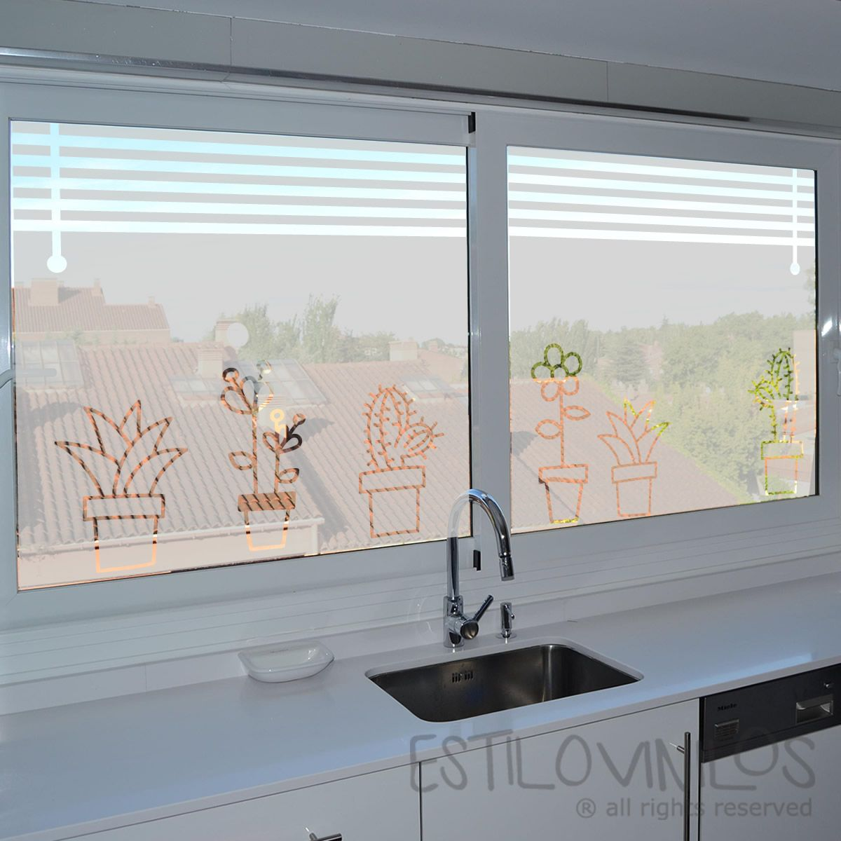 ESMERILADO10PERSIANAS Y MACETAS CALADAS  Decoracin casa en 2019  Vinilos ventanas Vinilos para ventanas y Ventanas de cocina