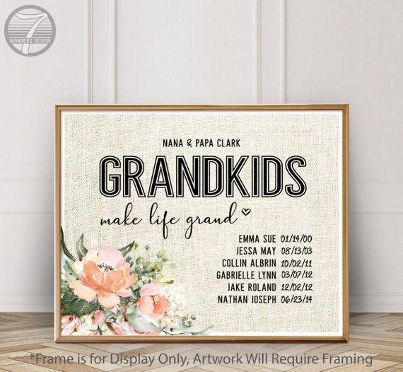 d7926ecd Personalized GRANDMA Gift, Custom Gift from Grandchildren, Grand Kids Make  Life Grand, Christmas Birthday Gift, Names Dates Gift - Unframed