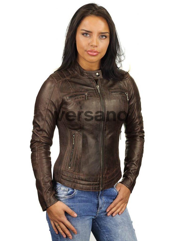 Leren dames bikerjack bruin Versano 346 | Women's fashion