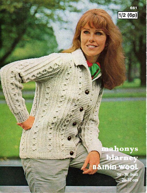 ladies aran jacket knitting pattern pdf womens aran cardigan ...