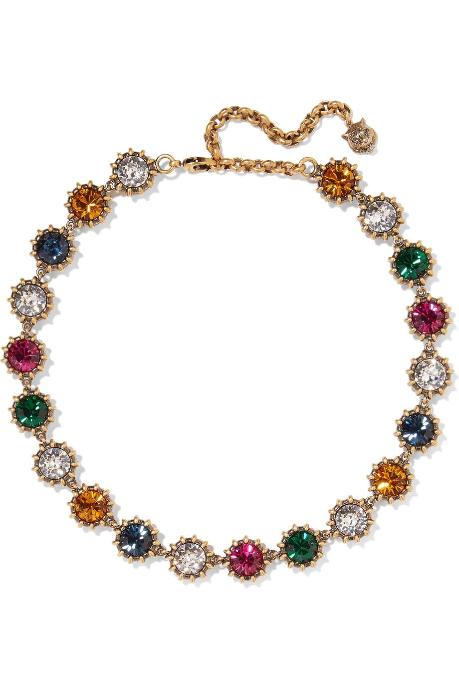 Gucci burnished goldtone crystal necklace gucci pinterest