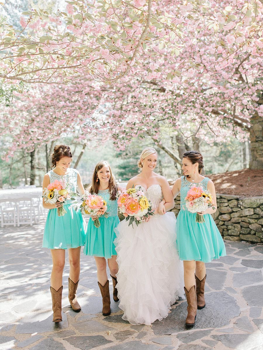 Georgia wedding with cherry blossoms georgia wedding cherry georgia wedding with cherry blossoms bridesmaids in bootswestern bridesmaid dressesbride ombrellifo Images