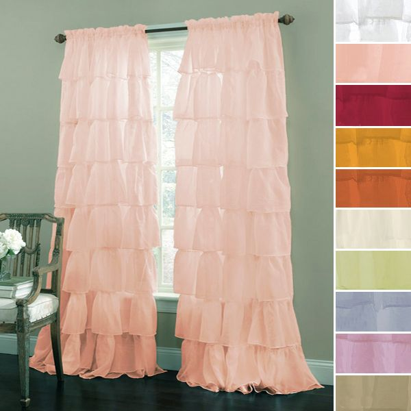 Gypsy Shabby Chic Semi Sheer Ruffled Window Curtain Panel For Master Bedroom