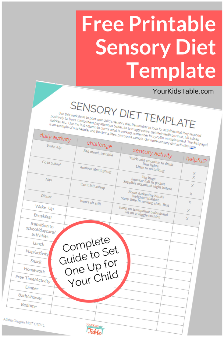 Easy to Use Sensory Diet Template with a Free PDF   Pinterest ...