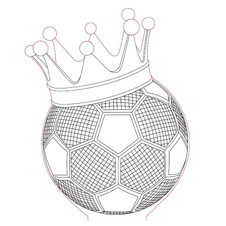 Ball with crown 3d illusion lamp plan vector file for CNC