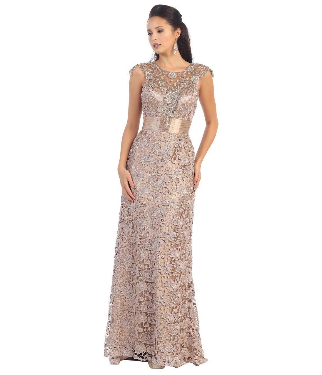 Taupe lace dress plus size