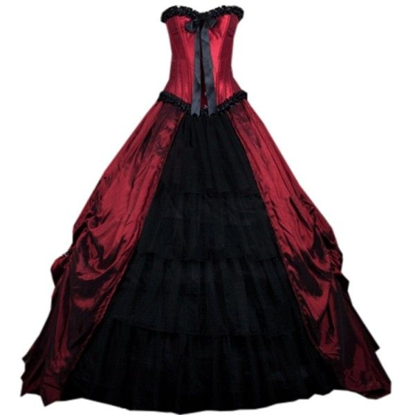 Partiss Womens Red Gothic Corset Long Prom Ball Gowns Victorian ...