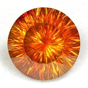 "Sphalarite, Santander, Spain, 11.65 ct., 13.30 mm, This stone has great dispersion, color, size and cutting. The color of the stone is a mix of rich gold, orange and red hues. There are very very slight inclusions, but honestly, it is very hard to obtain totally eye clean stones of this material, especially in a stone this size ! The cut on the stone is called a ""Quantum Concave Round Brilliant"" cut and it just bounces light all over when this stone is rotated in the light."