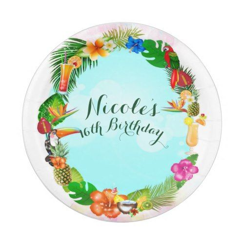 Hawaiian Tropical Summer Things Frame Luau Party Paper Plate  sc 1 st  Pinterest : luau paper plates - pezcame.com
