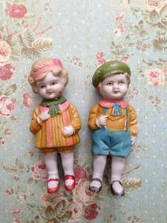 Vintage Boy and Girl Bisque Penny Dolls
