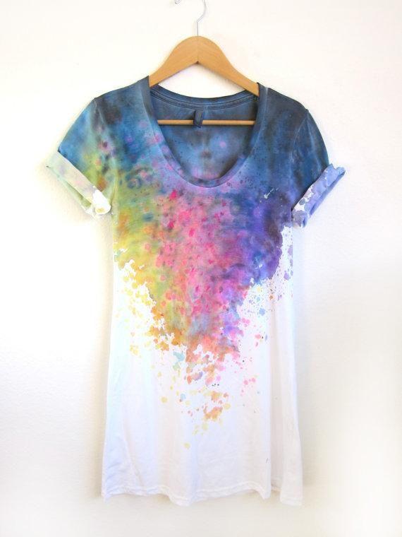 watercolor tee-shirt -- Bossy Tee :)