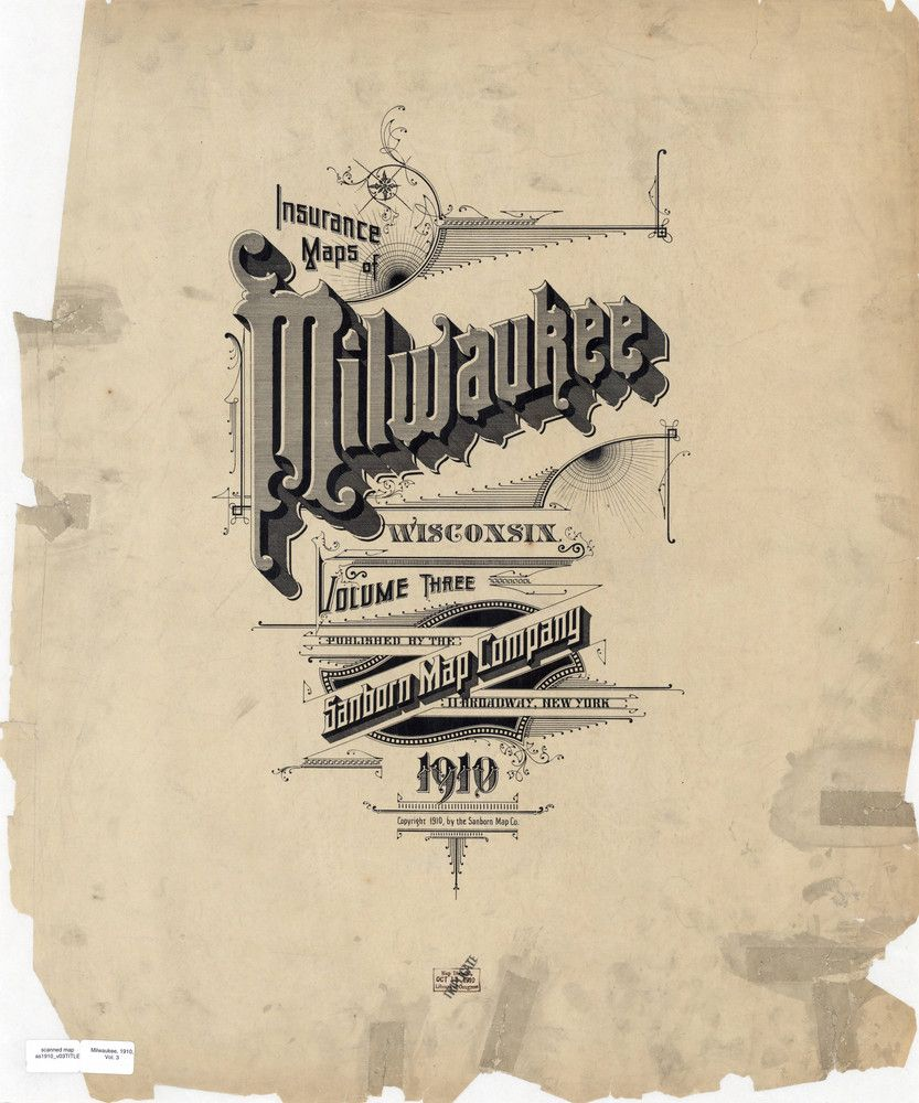 Sanborn Insurance Map Wisconsin Milwaukee 1910 Typography