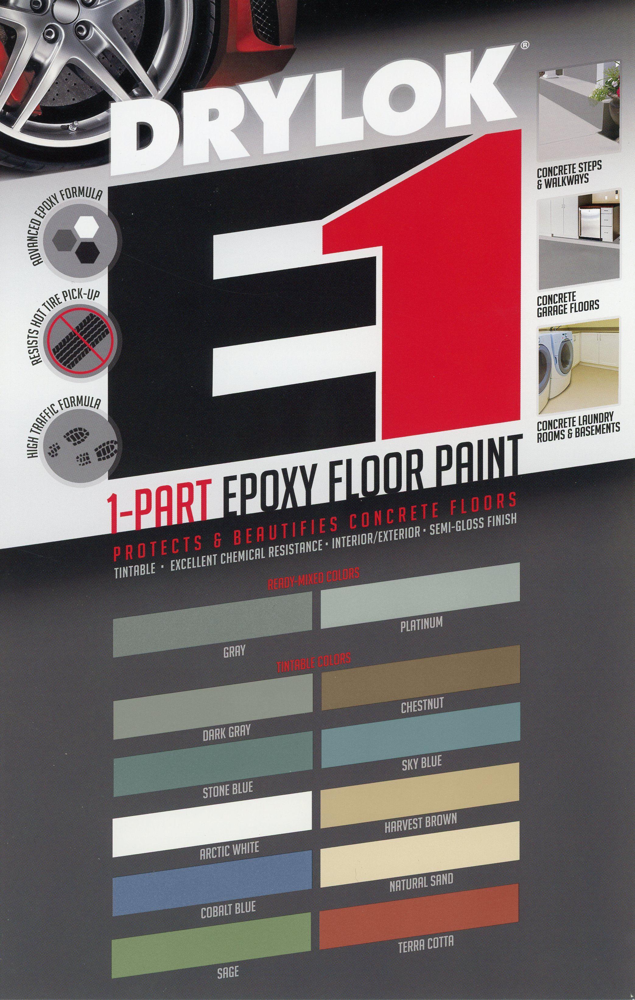 Drylok E1 Concrete Floor Paint Is Now Tintable Painted Floors Painted Concrete Floors Basement Makeover