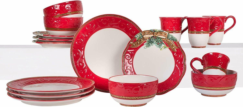 Christmas Dinnerware Set Dishes Bowls Mugs Kitchen Table Bows Greenery Buffet  - Dinnerware - Ideas of Dinnerware #Dinnerware #casualdinnerware