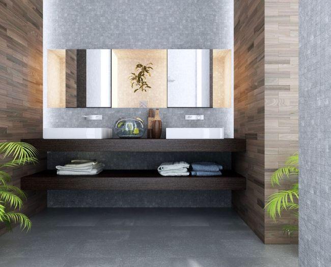 Badezimmer Ohne Fliesen Steinoptik Wandverkleidung Holz Lazienka
