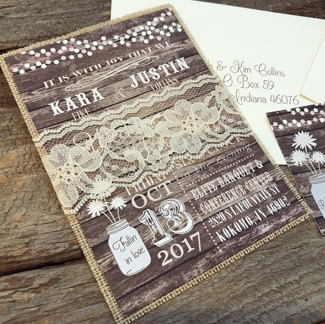 Country Wedding Invitation Set Lace Wedding Invitation Rustic