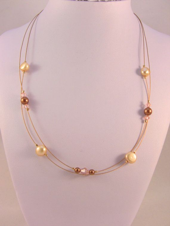 24kt Gold Plated Necklace With Cream Freshwater Pearls & by ljjwls, $35.00