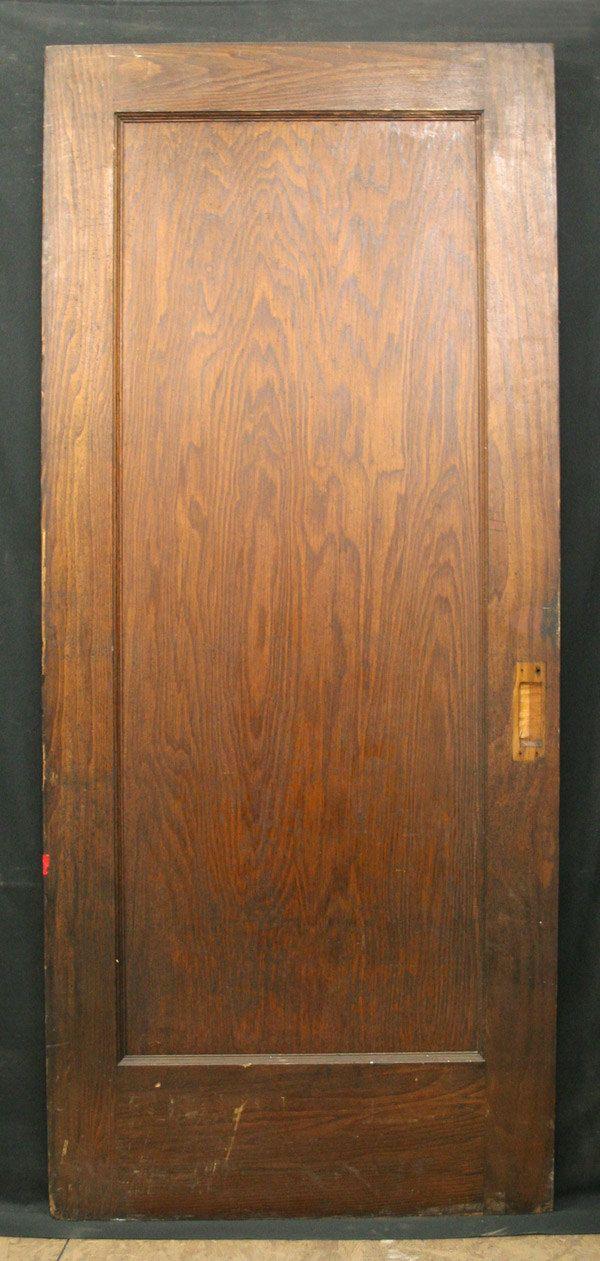 36 x84 antique interior red oak wood single sliding pocket door 1 large panel via. Black Bedroom Furniture Sets. Home Design Ideas