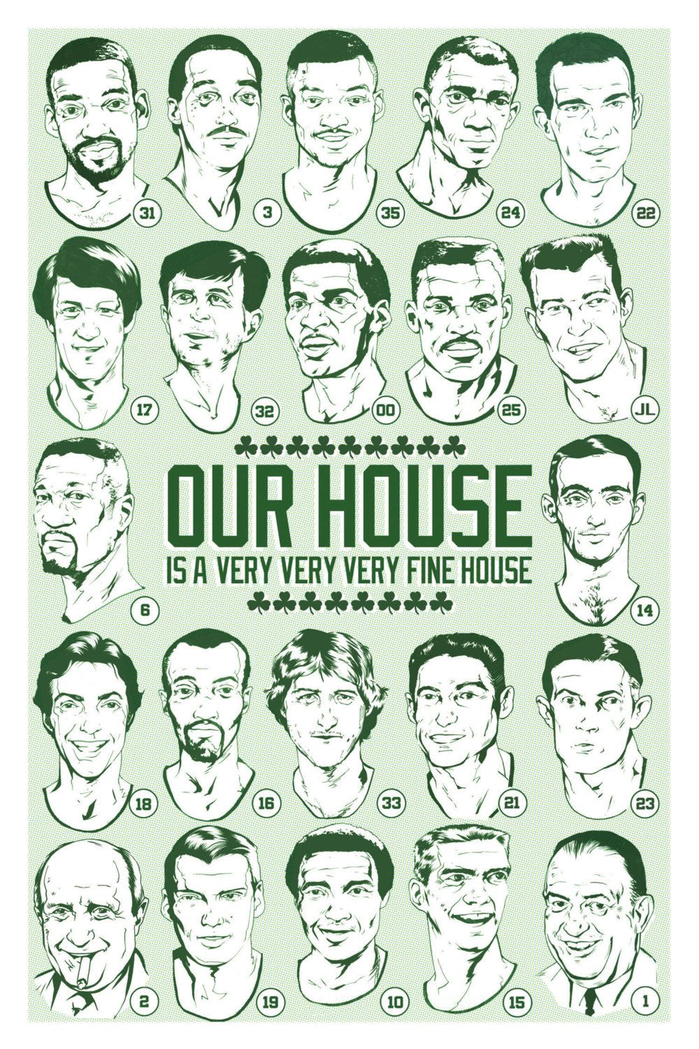 Boston Celtics Retired Numbers Illustrated Art Print - Our House ...