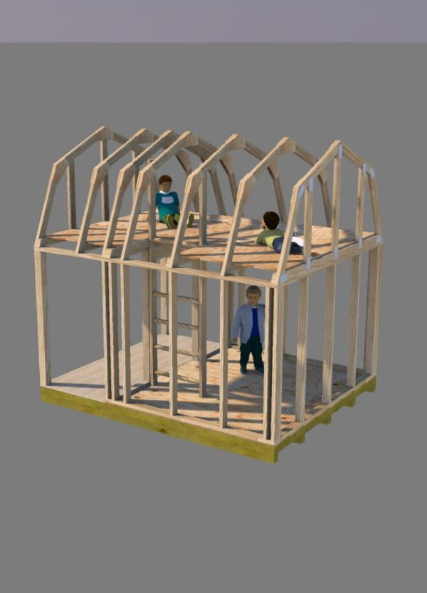Small barn plans 8x10 barn shed plans gambrel for Gambrel shed plans with loft