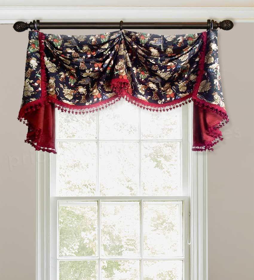 Black And Red Custom Window Valance Curtain With Onion Ball Tassel