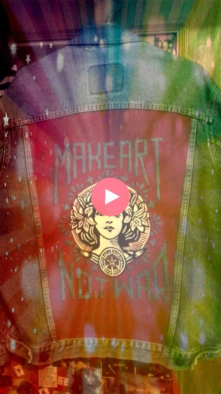jacket Make Art Not War Obey  Kleidung denim jacket Make Art Not War Obey  Kleidung  Hand painted custom jacket with hippie peace love music painting on vintage denim Cus...