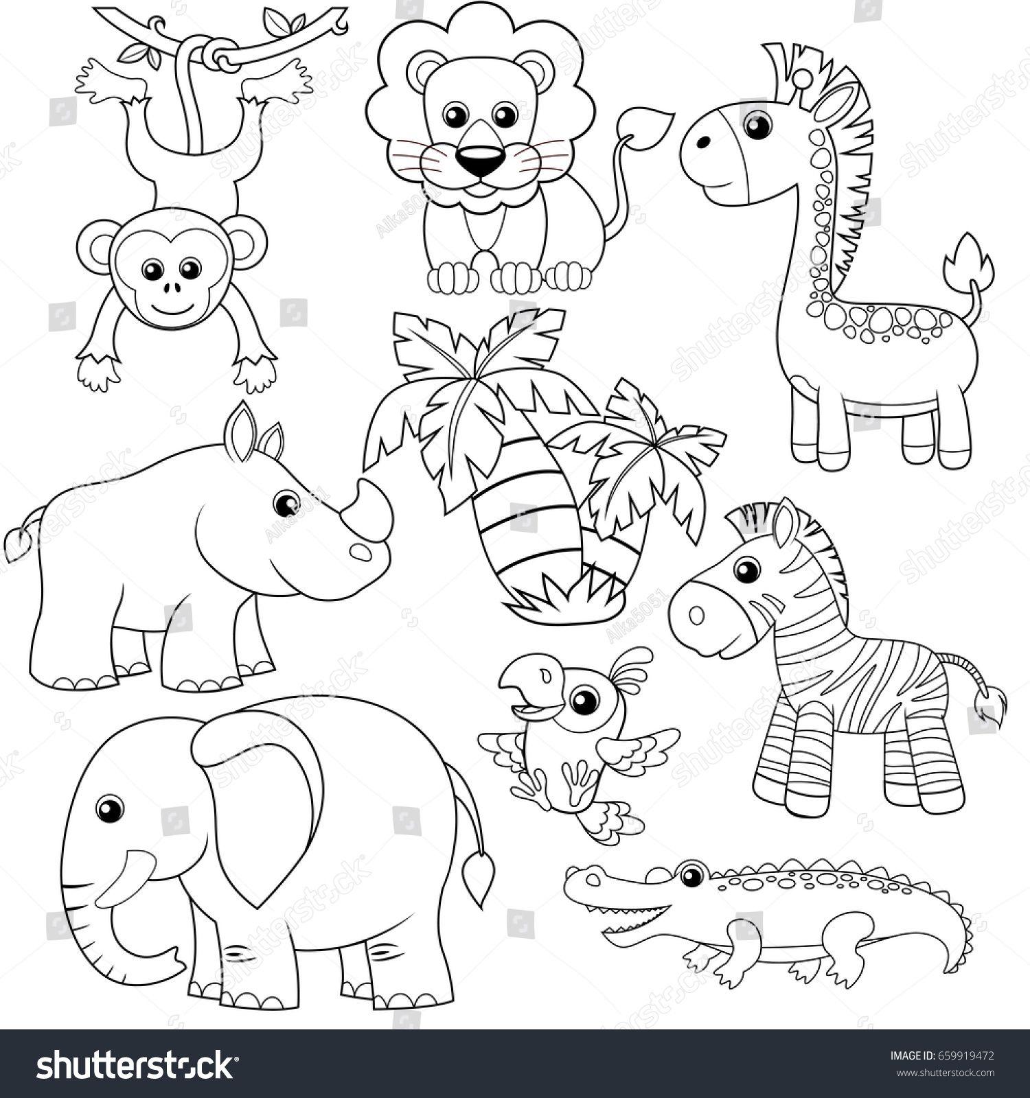 Jungle Animals Lion Elephant Giraffe Monkey Parrot Crocodile Zebra And Rhinoceros Black And Jungle Animals Pictures Monkey Illustration Jungle Animals