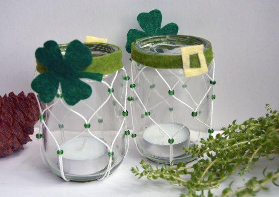 Irish luck candle holder set of 2 Four leaf by LittleStarCraftShop