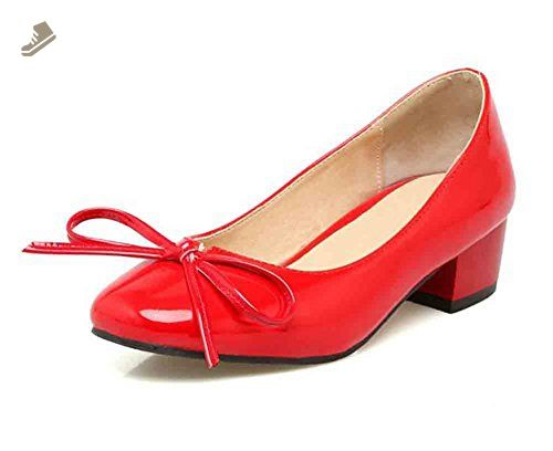 a0ae0d101e876 Sfnld Women's Sweet Bowknot Square Toe Slip on Low Heels Pumps Shoes ...
