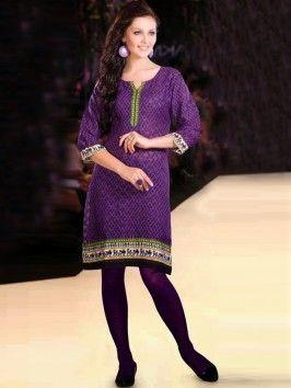 Purple Cotton Jacquard Kurti With Print Work