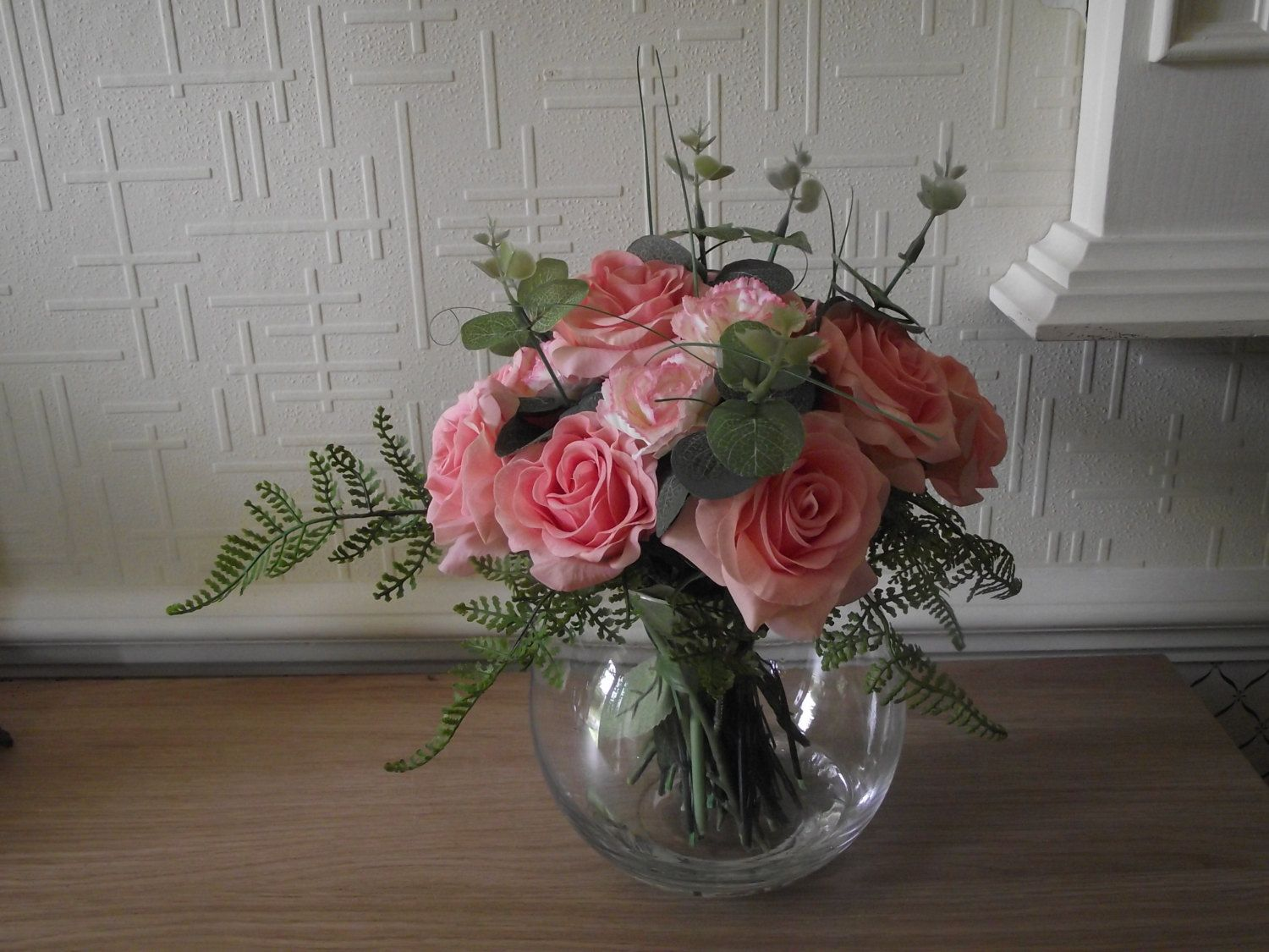 Highly realistic pink real touch roses with carnation spray fern silk artificial flower arrangement of real touch roses carnation spray fern and eucalyptus in a glass bowl and set in clear acrylic water mightylinksfo Gallery