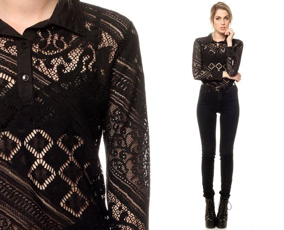 Images of Long Sleeve Black Lace Top - Reikian